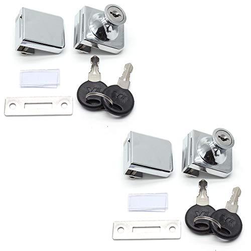 LICTOP 2 Pack Glass Door Double Latch Lock Security Cabinet Display Showcase Lock with 4 Keys for 58mm Glass Door