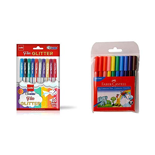 Cello Geltech Fun Glitter Gel Pen (Pack of 10 Pens in Multicolour Ink) | Glitter Gel Pens for Art Lo & Faber-Castell Connector Pen - Pack of 10 (Assorted)