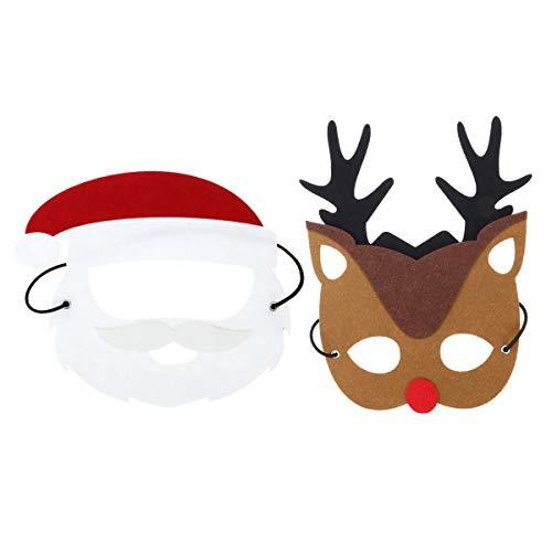 YeahiBaby 2 Unids Máscara de Traje de Navidad Fieltro de Papá Noel Máscara de Reno para Niños Adultos Fiesta de Navidad Cosplay