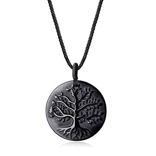 coai Geschenkideen Unisex Halskette mit Baum des Lebens Anhänger aus Obsidian Lebensbaum Medaillon verstellbar
