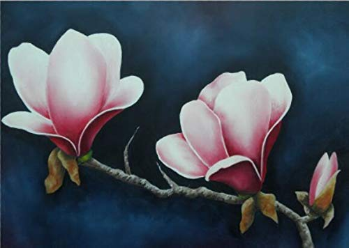 N / A Magnolia Oil Painting Print On Canvas Red Flower Wall Art Canvas Poster and Living Room Decoration Painting Frameless 50x75cm