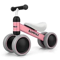 Bammax Kids Balance Wheel Balance Fiets zonder pedalen driewieler Speelgoed voor 1 jaar, eerste baby balans fiets voor jongens meisjes, aanbevolen leeftijd: 10-24 maanden, Roze *