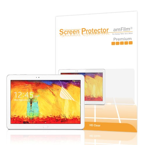amFilm Premium HD Clear (Invisible) Screen Protectors for Samsung Galaxy Tab Pro 10.1 (2014 Edition) & Galaxy Tab Pro 10.1 with (2-Pack) [in Retail Packaging]