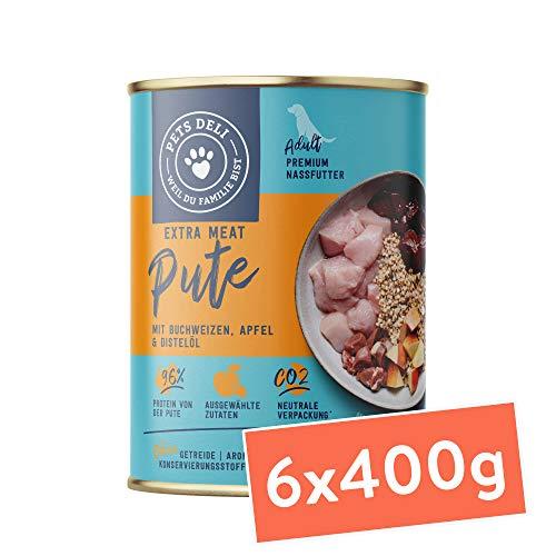 Nassfutter für Hunde | Pute mit Buchweizen, Apfel, und Distelöl | 2,4 kg - 6er-Pack