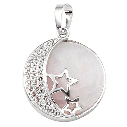 Colgante de Piedra de Luna - diseño de luna y estrellas, chakra, reiki, curativas