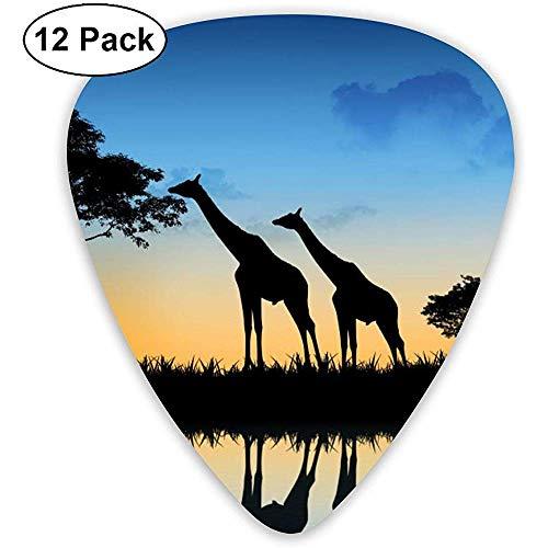 Giraffe Silhouette Plektren 12 Ukulelen-Plektren, einschließlich 0,46 mm, 0,71 mm, 0,96 mm Akustikgitarre