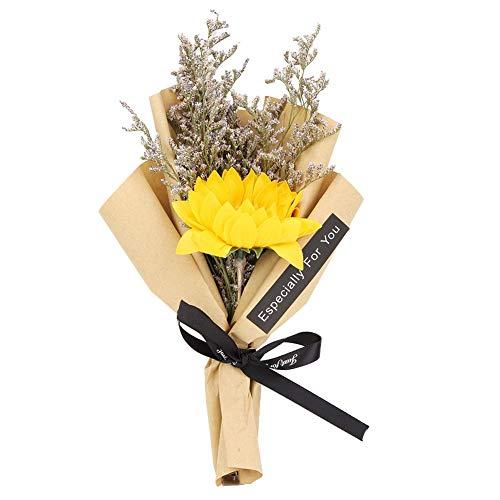 Cafopgrill Ramo de Girasol Flor Seca Natural para decoración de Bodas Flor Seca Regalo de día Festivo Atrezzo(Amarillo)