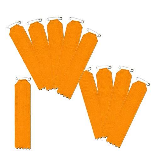 盾型(一枚ビラ)10枚入【リボン徽章・胸章】 安全ピン仕様 (オレンジ)