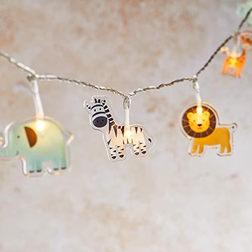 Lights4fun Safari String Lights Kids Bedroom 12 Warm White LEDs 2.1m Battery Timer Indoor Use
