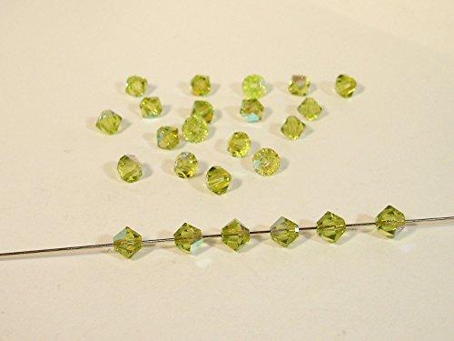 50 Swarovski® Perlen, Bicone, Light olive AB, 4 mm, SW68