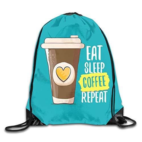 Eat Sleep Coffee Repeat Catchy Phrase mit handgezeichneter Kaffeetasse To Go Figur mit Herz Kordelzug Rucksack Schultertasche Turnbeutel Sportbeutel