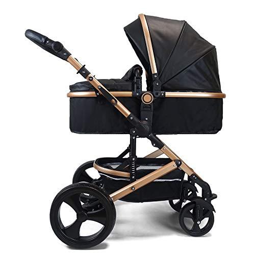 Pixini Kinderwagen (Kalani 2in1 Kombikinderwagen, inkl. Babywanne, Buggysitz & Wickeltasche/Cupholder/Regenschutz in gold/schwarz)