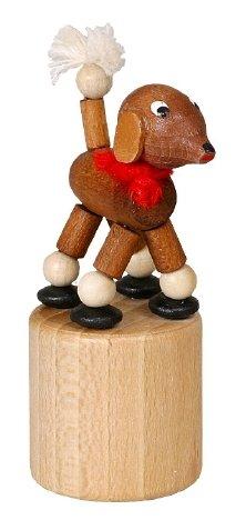 Knieldier pudel bruin wiebelfiguur zeep speelgoed hoogte 7 cm Ertsgebergte NIEUW