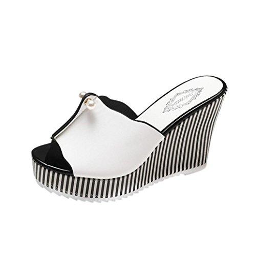 OYSOHE Damen Sandalen, Frauen Streifen Perle Plattform High Heels Sandalen Slope Sandalen Hausschuhe
