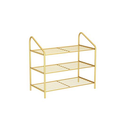 Yyqx Schuhregal Moderne einfache Eisenschuhständer Multilayer-Schuhregalschuhe Lagerregalschuh-Organizer für Schlafzimmer-Türwohnheim Schuhschrank (Color : Gold, Größe : 3 Tier)
