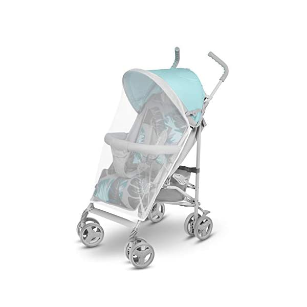 Lionelo Elia Buggy Small Folding Pushchair Buggy up to 15 kg Back and Footrest Adjustment Rear Wheel Brake Mosquito Net Leg Warmer Rain Cover Shopping Basket Lionelo Safe and handy. The Elia pushchair has a simple folding system. Does not need much space after folding. Folding the buggy takes only a few seconds, with a carry handle and the weight of only 7 kg, ideal for travel, on the train or in the car boot. Features: Complete set with mosquito net, leg warmer and rain cover, spacious storage basket, back and footrest adjustment, handle height at 105 cm. Swivel lock and rear brake. On the rear axle there is a comfortable and quick to use brake that is operated with one foot. The front wheel has a swivel lock that helpfully holds a steady course on uneven terrain. 6