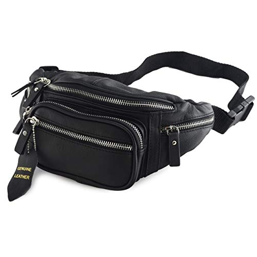 Fanny Pack Waist Bag Multifunction Genuine Leather Hip Bum Bag Travel Pouch for Men and Women- Multiple Pockets & Sturdy Zippers Ideal for Hiking Running And Cycling (Black)