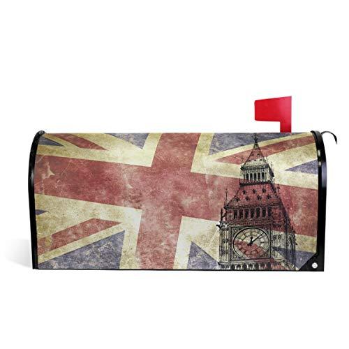 Big Ben avec drapeau du Royaume-Uni pour boîte aux lettres, boîte aux lettres, boîte aux lettres, décoration de jardin, cour, maison, pour extérieur Taille standard 51 x 46 cm 52.6x45.8cm multicolore