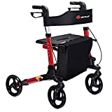 GYMAX Folding Rollator Walker with Dual Brakes, Seat and Detachable Storage Bag, Adjustable