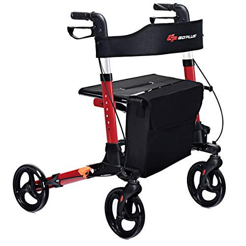 GYMAX Folding Rollator Walker with Dual Brakes, Seat and Detachable Storage Bag,...