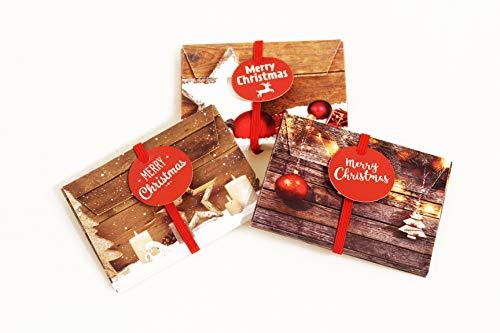 KAMACA 3er Set Geschenkschachtel für Geldgeschenke Gutschein Verpackung Geschenkverpackung Geld Gutschein Weihnachten (3er Set Geschenkumschlag Christmas)