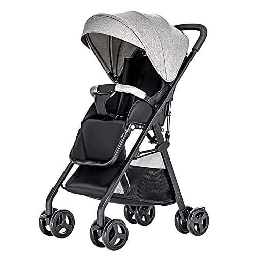 Cochecitos de bebé,Fesjoy Cochecito de bebé Vista alta Cochecito de niño Un paso Plegable Carro de bebé convertible liviano con asiento reclinable de asientos múltiples y reclinables Toldo extendido