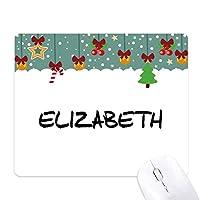特別な手書きの英語名エリザベス ゲーム用スライドゴムのマウスパッドクリスマス