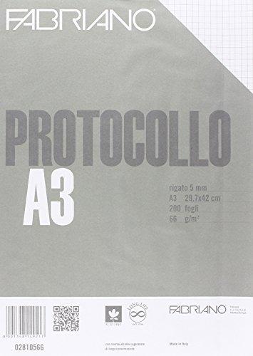 Fabriano 02810566 Fogli Protocollo Standard, 5 mm, 66 G/MQ, Confezione 200