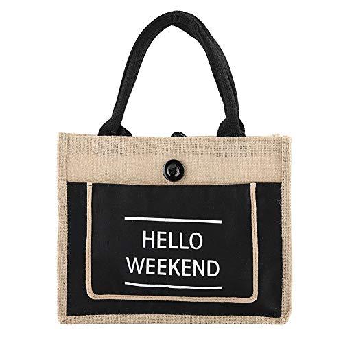 Handtasche, Vintage Square Sackleinen Tasche Jute Handtasche Lagerung Einkaufsträger Schulter Einkaufstasche(S-SCHWARZ)