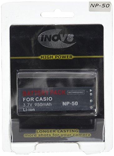 Reemplazo Inov8 batería de Litio de la cámara Digital RCB Casio NP-50, NP 50, NP50, 4.8V 800mAh (Paquete de 4)