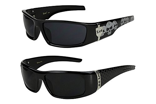 2er Pack Locs 9069 X03 Sonnenbrillen Herren Damen Männer Brille - 1x Modell 04 (schwarz glänzend - Skull-Design / schwarz getönt) und 1x Modell 05 (schwarz glänzend - Square-Design / schwarz getönt)