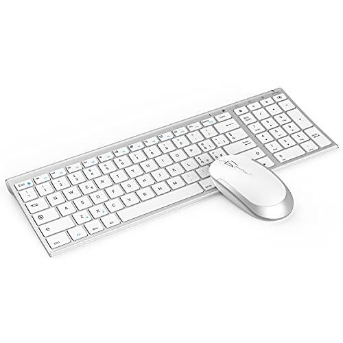 ASHU Kit Tastiera e Mouse Wireless Ricaricabile, Tastiera Italiano QWERTY Silenziosa, Ultra Sottile, Ricevitore USB Nano, Mouse DPI Regolabile per PC/Laptop, Windows 10/8/7/Vista, Argento Bianco