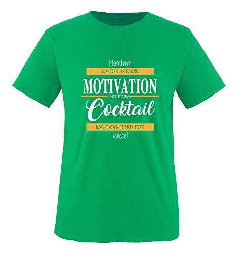 Comedy Shirts - Manchmal läuft Meine Motivation mit einem Cocktail nackig über die Wiese - Herren T-Shirt - Grün/Weiss-Gelb Gr. S
