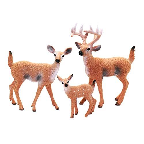 Yardwe 3 Stück Waldtiere, Miniaturfiguren, Holzfiguren, Hirsch, Wald, Lernfest, Spielzeug für Geburtstag, Cupcake, Topper für Kinder