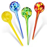 Brajttt Plant Watering Globes, 4pcs Automatic Watering Drippers, Decorative Glass Watering Bulbs with 4 Tags