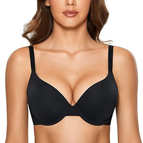 DOBREVA Women's Push Up T Shirt Bra Seamless Padded Full Coverage Underwire Bras Black 32AA