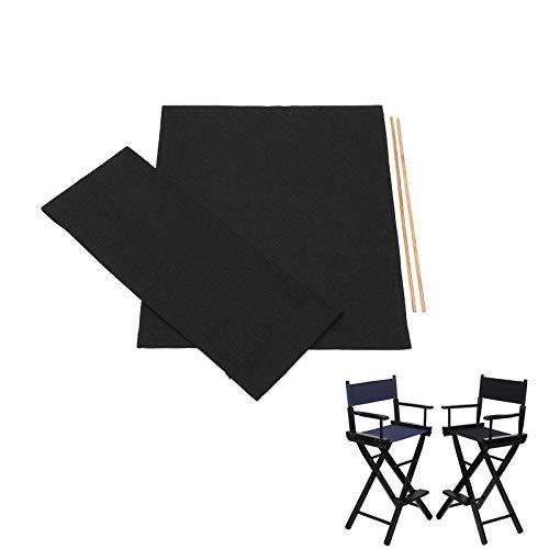 """OurLeeme Recambio Lona Silla Director, 21 * 11"""" 21 * 17"""" Sillas Durable Cubierta de Asiento de Lona de reemplazo de Cubiertas de la Silla de Tela Protector Negro (Negro)"""