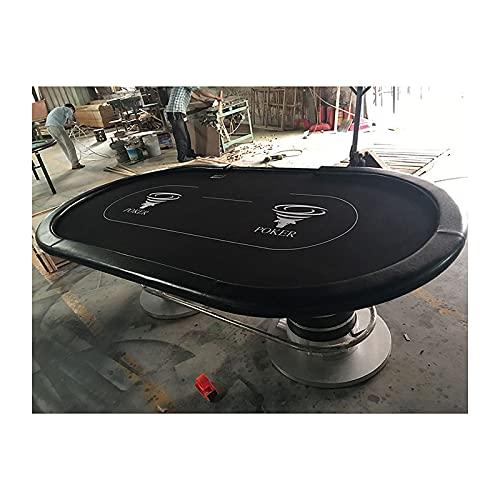 JLFFYJ Mesa de Póquer Mesa de Casino para Juego de Mesa de Blackjack con Base de Pedestal de Acero Inoxidable y Superficie de Fieltro, 260x140x80cm, Negro