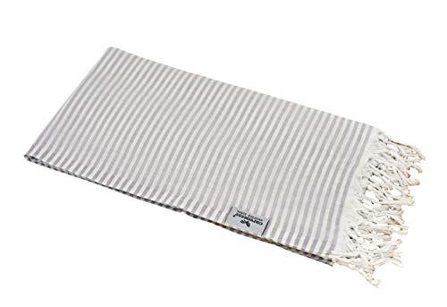 Carenesse Hamamtuch Streifen Light grau leicht und hauchzart, 100% Baumwolle, 90 x 180 cm, Pestemal, Saunatuch, Badetuch, Strandtuch, Handtuch Backpacker, Fouta