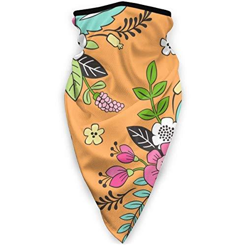 MJDIY Sport Face Guard, lentebloemen roze op oranje gezichtswarmer, winddicht, comfortabele zakdoeken 16 in 1 voor UV-bescherming buitenshuis