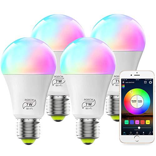 MagicLight WiFi Bulb No Hub Required, Dimmable Multicolor E26 A19 7W (60w...