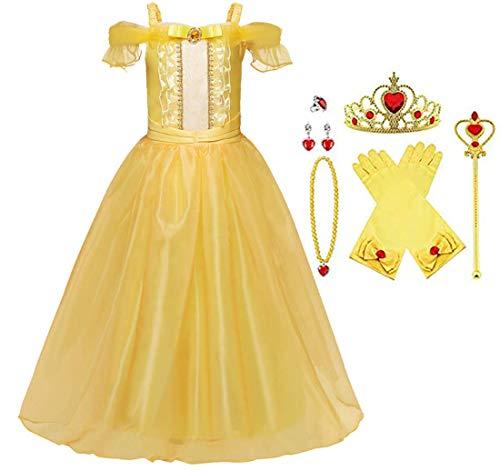 SUYU Disfraz de Princesa Fiesta Trajes Vestido Niñas de Princesa Infantil Fancy Dress Up Vestido de Cosplay con Accesorios de Carnaval Halloween Vestitos Fiesta de Cumpleaños Ceremonia Ropa (120)
