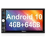 Vanku Android 10 Car Stereo Double Din with 64GB+4GB RAM PX6, GPS, WiFi, Support 1s Fastboot, Android Auto, Backup Camera, USB SD, 7 Inch Touch Screen Head Unit