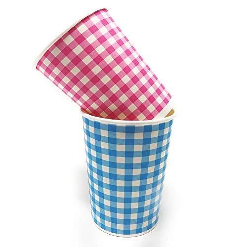 MGE - Vasos de Cartón Biodegradables - Vasos de Papel para Fiestas - Tazas Desechables - 180 Unidades - 2 Colores con Cuadros