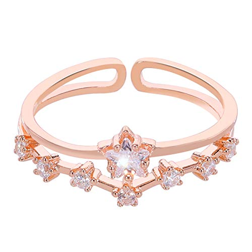 Pasurohu Stackable Rings 18K Rose Gold Plated 925 Sterling Silver Rings, Cubic Zirconia Adjustable Fashion Statement Rings for Women Infinity Forever Love Knot Stacking Ring