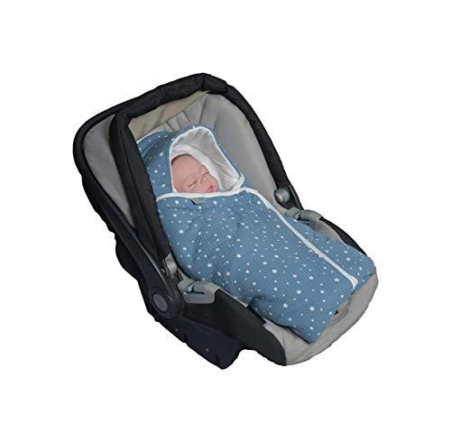 MoMika Stars Musselin Unisex Einschlagdecke | Wickeldecke | Babyschlafsack | 100% Baumwolldecke mit 100% kuscheligem Vliesstoff | Babydecke für Buggy oder Autositz | Wickeldecke mit Kapuze (Denim)