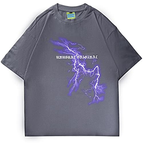 DMUEZW Männer Hip Hop T-Shirt Lightning Moon Streetwear T-Shirt Übergroße Hiphop Lose T-Shirts Kurzarm T-Shirts Baumwolle