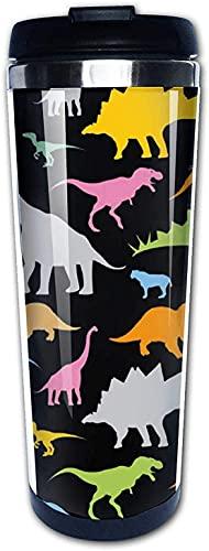3D Novedad Abstracto Divertido Decoración Silueta Dino Colorido Divertido Viaje Taza de café Vaso 400 ml Acero inoxidable Taza de café aislada Botella de agua Taza de té