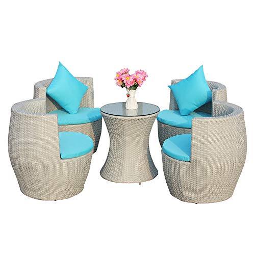ZHFC Combinazione di mobili da Tavolo e Sedia in Rattan da terrazza, Sedia da Esterno con 4 sedie e tavolino Imbottiti, mobili da Giardino Adatti per Chat Prato Giardino