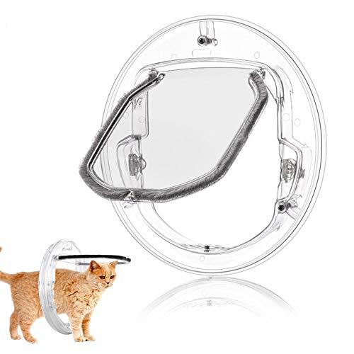 ACCP Katzenklappe,magnetische Haustiertür,Katzentür,4-Wege-Schloss,runde,klare,Flexible Klappentür für Katzen und kleine Hunde,Glatte Rahmenkante,leise, langlebig